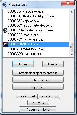 CheatEngine ProcessList Screenshot